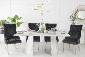 Urban Deco Midas 180cm Grey Marble Dining Table and 6 Black Knockerback Chrome Leg Chairs