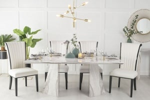 Urban Deco Midas 180cm Grey Marble Dining Table and 6 Cadiz White Chairs