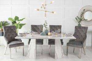 Urban Deco Midas 180cm Grey Marble Dining Table and 6 Grey Knockerback Chrome Leg Chairs