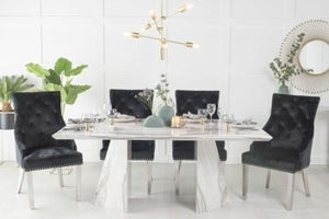 Urban Deco Midas 200cm Grey Marble Dining Table and 6 Black Knockerback Chrome Leg Chairs