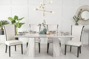Urban Deco Midas 200cm Grey Marble Dining Table and 6 Cadiz White Chairs