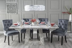 Urban Deco Milan 200cm Grey Marble Dining Table with 6 Grey Knockerback Chairs