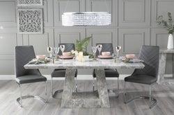 Urban Deco Milan 200cm Grey Marble Dining Table with 6 Phoenix Dark Grey Brushed Metal Base Chairs
