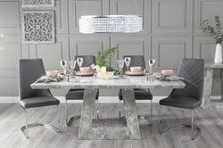 Urban Deco Milan 160cm Grey Marble Dining Table with 6 Phoenix Dark Grey Brushed Metal Base Chairs