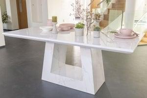 Urban Deco Milan 160cm White Marble Dining Table