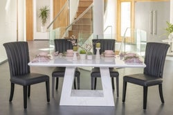 Urban Deco Milan 180cm White Marble Dining Table and 6 Cadiz Black Chairs