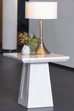 Urban Deco Milan White Marble Lamp Table