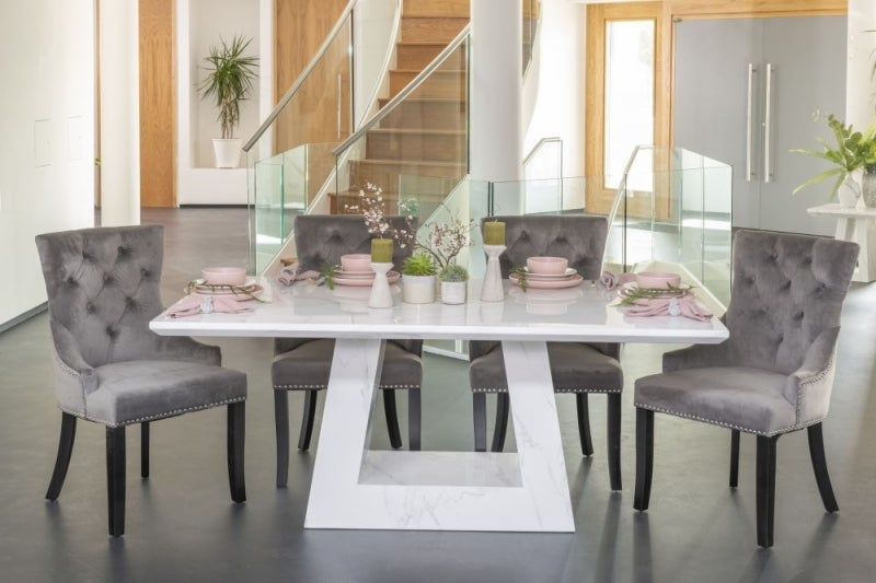 Urban Deco Milan 200cm White Marble Dining Table and 6 Grey Knockerback Chairs