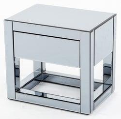 Moda Smoke Mirrored 1 Drawer Bedside Table