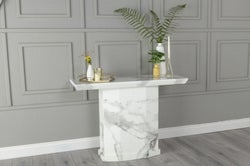 Urban Deco Naples White Marble Console Table