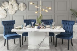 Urban Deco Naples 180cm White Marble Dining Table with 6 Courtney Blue Chairs