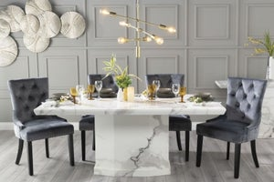Urban Deco Naples 180cm White Marble Dining Table with 6 Grey Knockerback Chairs