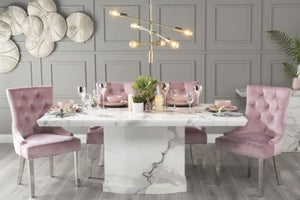 Urban Deco Naples 200cm White Marble Dining Table with 6 Pink Knockerback Chrome Leg Chairs