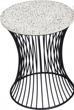Ritz Terrazzo Accent Table with Drum Shape Black Metal Base