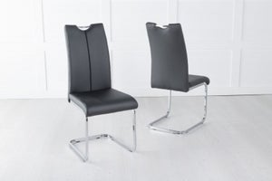 Nikko Black Leather Handle Back Dining Chair with Brushed Stainless Steel Cantiliver Base
