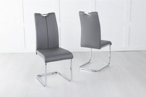 Nikko Dark Grey Leather Handle Back Dining Chair with Brushed Stainless Steel Cantiliver Base