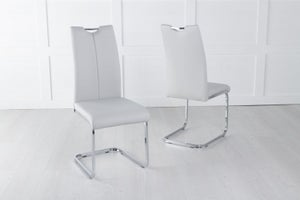 Nikko Grey Leather Handle Back Dining Chair with Brushed Stainless Steel Cantiliver Base