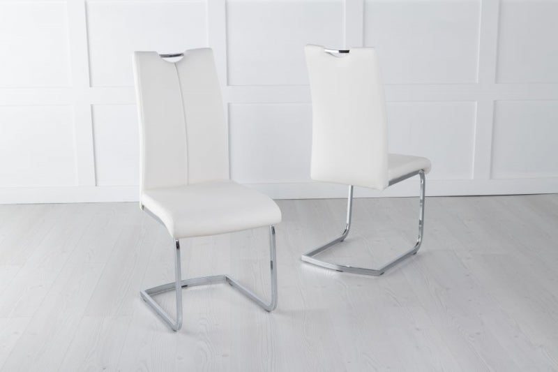 Nikko Cream Leather Handle Back Dining Chair with Brushed Stainless Steel Cantiliver Base
