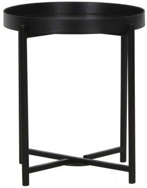 Nordic Round Side Table - Black Metal Base