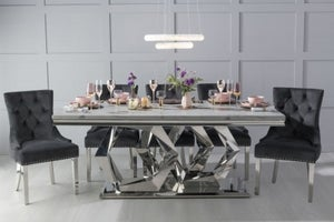 Urban Deco Octa 200cm Grey Marble and Chrome Dining Table with 6 Black Knockerback Chrome Leg Chairs