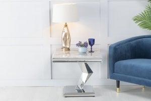 Urban Deco Octa Grey Marble and Chrome Side Table