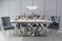 Urban Deco Octa 200cm White Marble and Chrome Dining Table with 6 Grey Knockerback Chrome Leg Chairs