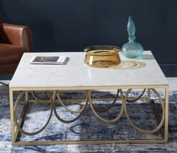 Olympia White Marble Coffee Table - Gold Metal Base