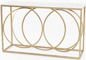 Olympia White Marble Console Table - Gold Metal Base