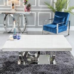 Urban Deco Orbit Cream Marble and Chrome Coffee Table