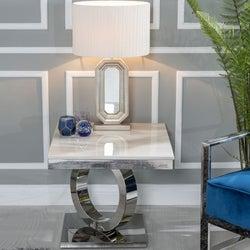 Urban Deco Orbit Cream Marble and Chrome Side Table