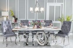 Urban Deco Orbit 200cm Cream Marble and Chrome Dining Table
