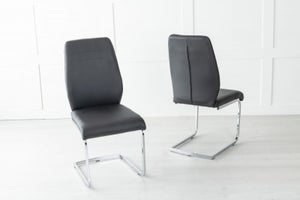 Oslo Black Leather Dining Chair with Brushed Stainless Steel Cantiliver Base