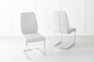 Oslo Grey Leather Dining Chair with Brushed Stainless Steel Cantiliver Base