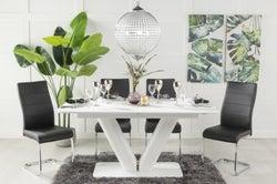 Urban Deco Panama White Glass 160-200cm Dining Table and 6 Malibu Black Chairs