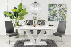 Urban Deco Panama White Glass 160-200cm Dining Table and 6 Malibu Grey Chairs