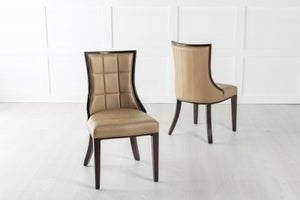 Paris Beige Leather Dining Chair - Polished Brown Legs & Side Trims