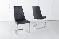 Phoenix Black Leather Dining Chair with Brushed Stainless Steel Cantiliver Base