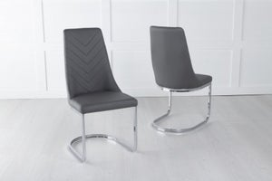Phoenix Dark Grey Leather Dining Chair with Brushed Stainless Steel Cantiliver Base