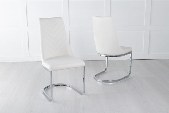 Phoenix Cream Leather Dining Chair with Brushed Stainless Steel Cantiliver Base