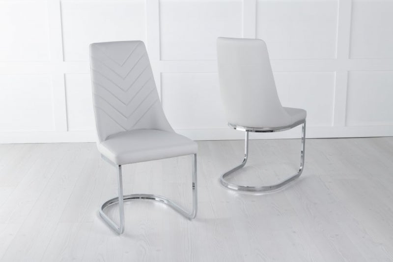 Phoenix Grey Leather Dining Chair with Brushed Stainless Steel Cantiliver Base