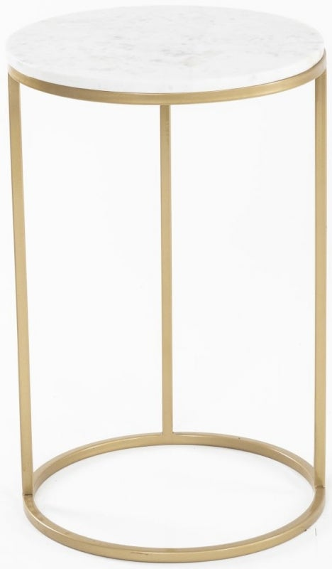 Pimlico White Marble Side Table - Round Gold Metal Base