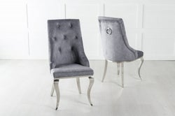 Premiere French Knocker Dining Chair With Chrome Polished Metal Legs - Grey Velvet