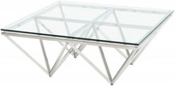 Urban Deco Prism Glass and Chrome Coffee Table