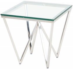Urban Deco Prism Glass and Chrome Side Table