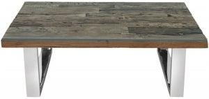 Railway Sleeper Wood Glass Top Coffee Table