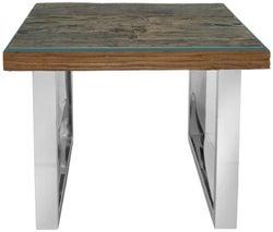 Railway Sleeper Wood Glass Top Side Table