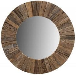 Railway Sleeper Wood 60cm Small Round Wall Mirror