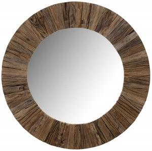 Railway Sleeper Wood 80cm Large Round Wall Mirror