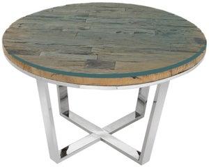 Railway Sleeper Wood Glass Top 120cm Round Dining Table