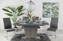Urban Deco Rimini Ceramic Effect Black Glass 160-200cm Dining Table and 6 Malibu Grey Chairs
